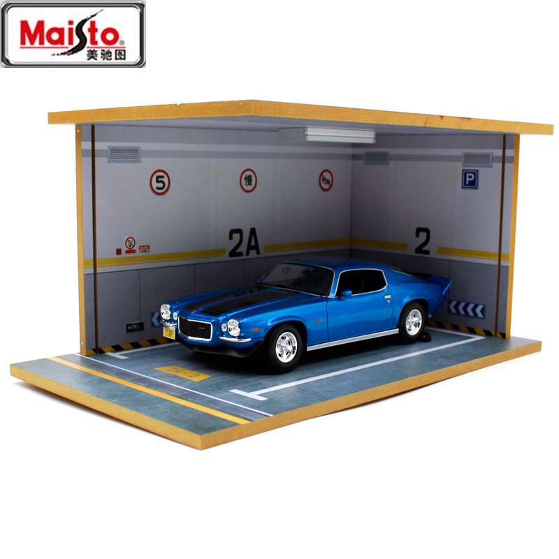 MAISTO 1:18 Parking Lot Model Scene Solid Wood Parking Garage Model Car Model Parking Lot Display Cabinet DIY Free Shipping image