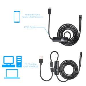 Image 5 - OWSOO endoskop kamera 7MM 6 LED Lens 2m su geçirmez muayene Borescope Mini kamera tel yılan tüp usb kameralı boru muayene cihazı
