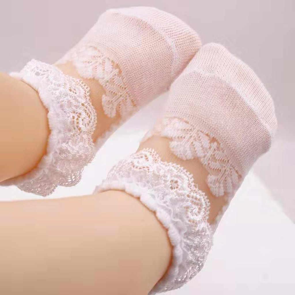 Calcetines de algodón para niñas, de encaje, para niñas, transpirables, de verano, bonitos calcetines cortos para niñas, ropa para recién nacidos # C