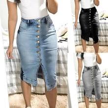 High Waist Women Denim Skirts Buttons  Jeans Skirts Short Pockets Street Style Midi Pencil Skirt Female Knee Length