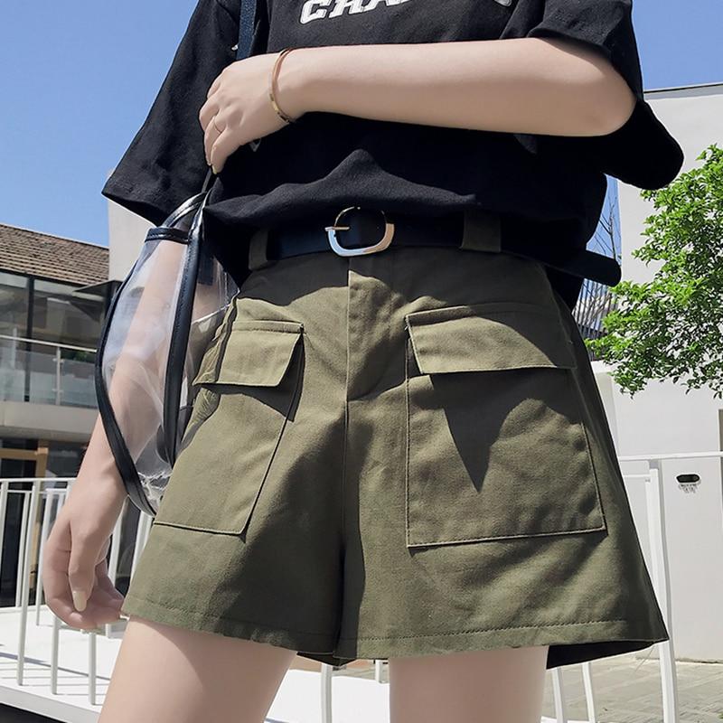 AIYANGA 2020 Shorts Women Casual Solid Pockets High Waist Cargo Shorts For Women Hot Ladies Casual Short Feminino Shorts Female