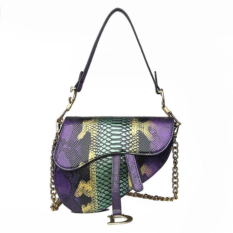 WOMEN'S Bag Foreign Trade 2019 New Style Fashion Snakeskin Contrast Color Saddle Bag Versatile Shoulder Korean-style Hand Bag