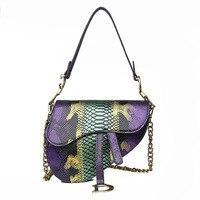 WOMEN'S Bag Foreign Trade 2019 New Style Fashion Snakeskin Contrast Color Saddle Bag Versatile Shoulder Korean style Hand Bag