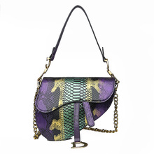 WOMEN'S Bag Foreign Trade 2019 New Style Fashion Snakeskin Contrast Color Saddle