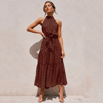 Summer Long Dress Polka Dot Casual Dresses Black Sexy Halter Strapless New 2020 Yellow Sundress Vacation Clothes For Women 10