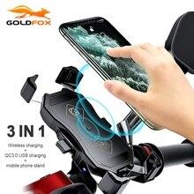 Motorrad Telefon Halter 15W Drahtlose Ladegerät QC 3,0 Schnelle Lade Telefon Stehen für iPhone 11 Xiaomi 360 Grad Rotation halterung