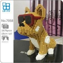 Boyu 7058 dessin animé lunettes bouledogue tacheté chien Animal de compagnie 3D bricolage Mini diamant blocs briques construction jouet pour enfants sans boîte