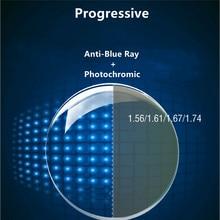 Lentes fotocromáticas de resina para miopía, lentes fotocromáticas de resina antirayos azules y graduales para miopía, 1 par de lentes personalizados, 1,56/1,61/1,67/1,74