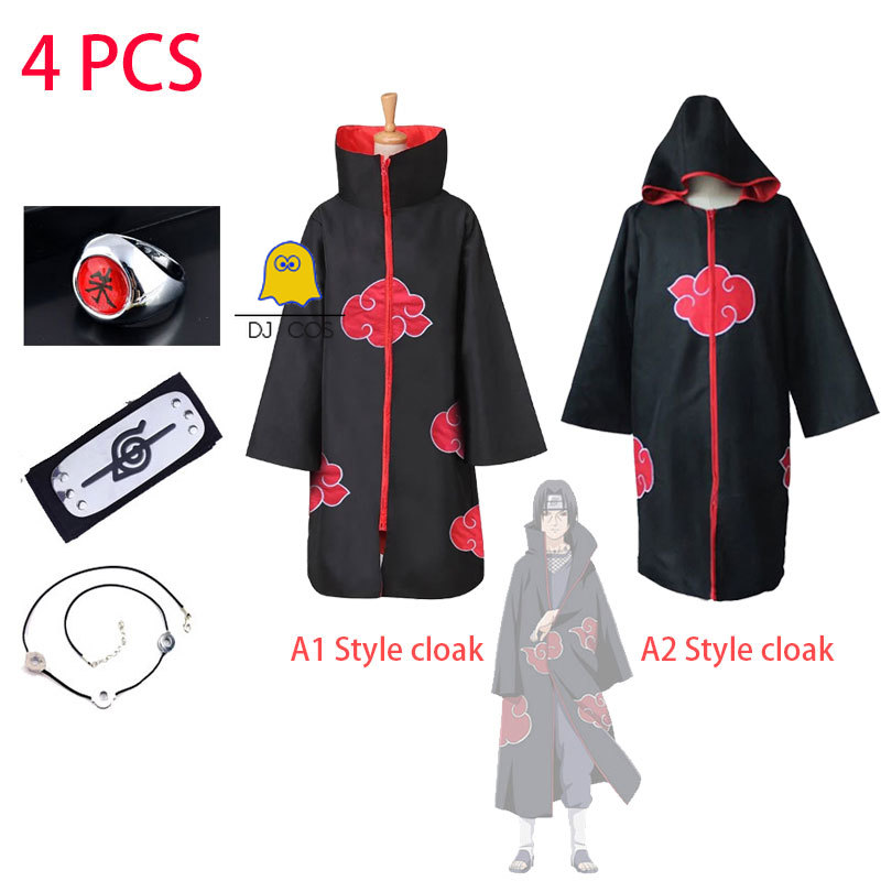 4 Pcs Anime Naruto Akatsuki Cloak Uchiha Itachi Trench Cosplay Costume Ring Headband Necklace Sets Halloween Party Costume Hot Offer 5092 Cicig