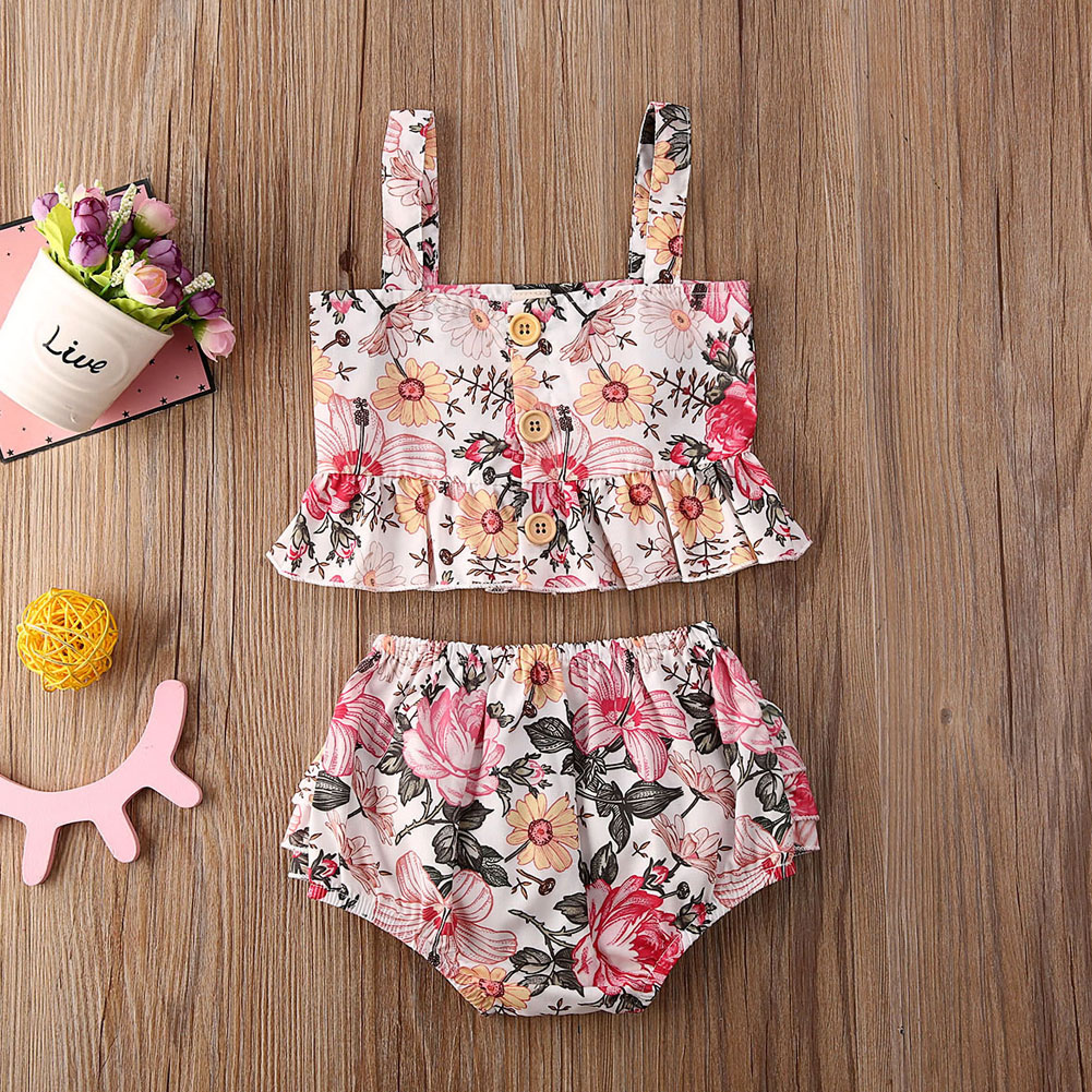 Pudcoco Newborn Baby Girl Clothes Flower Print Strap Ruffle Crop Tops Short Pants 2Pcs Outfits Cotton Clothes