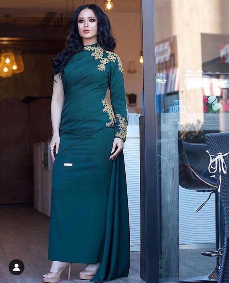 One-shoulder Muslim Evening Dresses Sheath Long Sleeves Appliques Beaded Dubai Saudi Arabic Long Evening Gown Prom