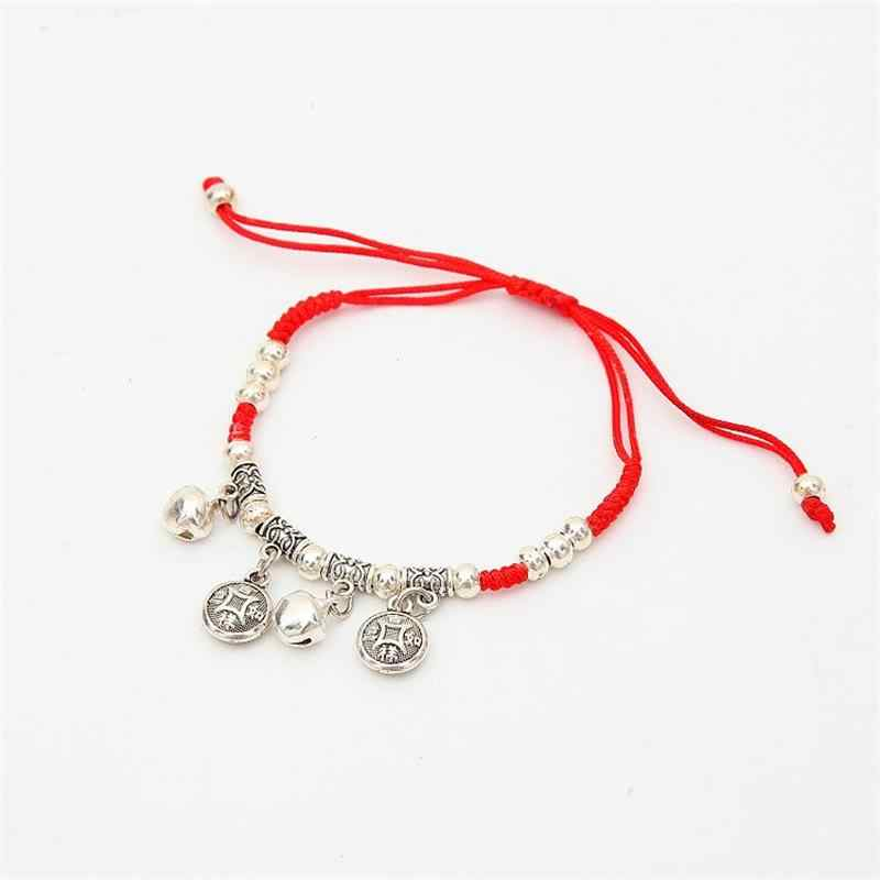 Trendy Chinese Ethnic Jewelry Thin Red String Hand-woven Charm Bracelet Vintage Round Metal Chain Bracelets Jewelry Gift