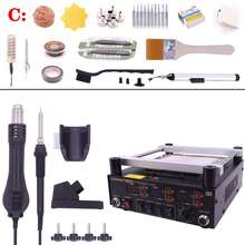 Gordak 863 3 in 1 Hot Air Heat Gun BGA Rework Solder Station Electric Soldering iron IR Infrared Preheating Station saike 952d 2 in 1 solder rework station hot air gun soldering iron 760w