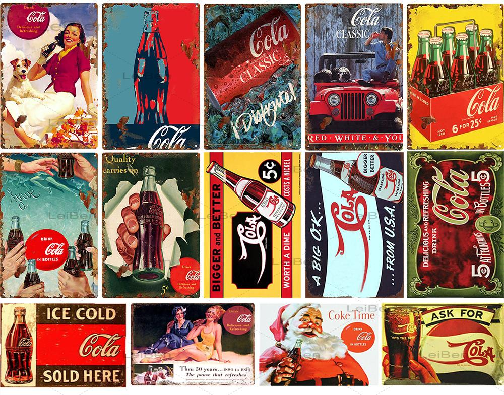Icy Coke-cartel de lata de Metal, cartel de arte Retro de PLACA de Metal a la moda, decoración para el hogar, Bar, cafetería, restaurante, pintura de lata de pared