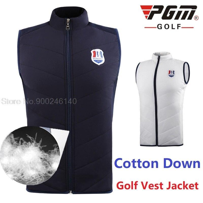 Pgm Men Windbreaker Vest Clothes Outdoor Sports Golf/Tennis Sleeveless Jackets Men Down Cotton Windproof Jacket Keep Warm Coat