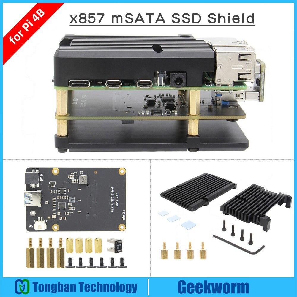 Raspberry pi 4 msata ssd placa de expansão armazenamento x857 usb3.1 escudo para raspberry pi 4b