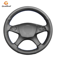 Hand stitched Black Genuine leather Anti slip Car Steering Wheel Cover for Mercedes Benz W204 C Class 2007 2010 C280 C230