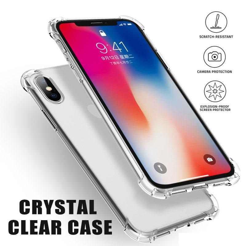 Ultra ince yumuşak TPU temizle kristal iphone için kılıf 11 PRO XR XS MAX 6 6S 7 8 artı şeffaf darbeye dayanıklı hava yastığı tampon kapak