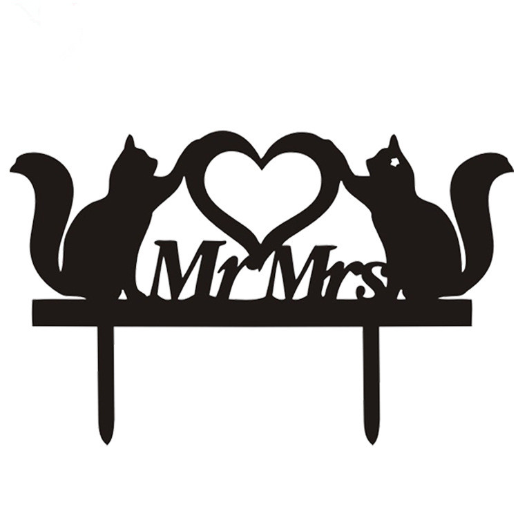 Cut <font><b>Cats</b></font> Love Heart Mr & Mrs Acrylic <font><b>Cake</b></font> Flags <font><b>Cake</b></font> <font><b>Topper</b></font> <font><b>Black</b></font> White For Wedding Anniversary Party <font><b>Cake</b></font> Decoration Hot Sale image