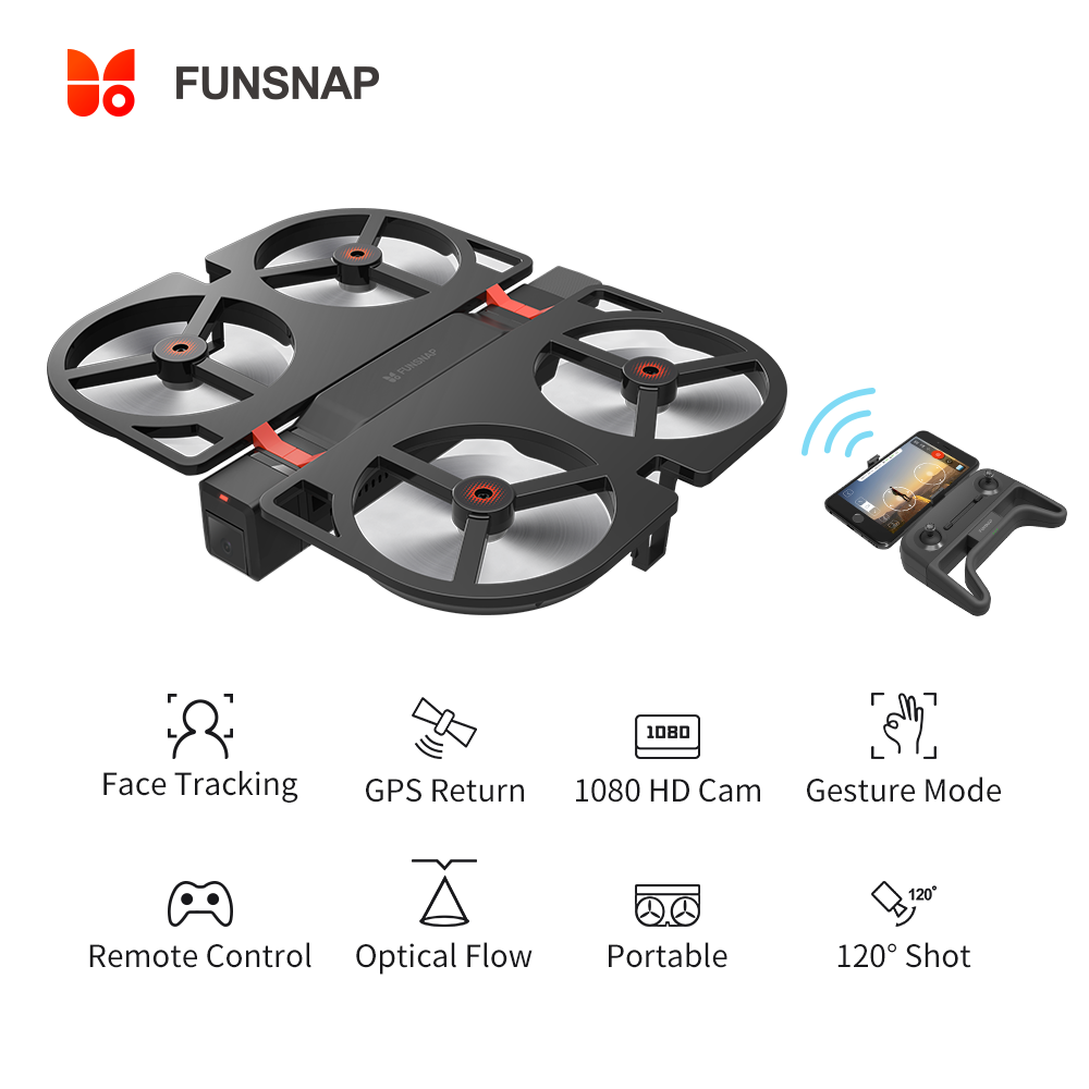 Funsnap iDol FPV RC Drone 4K GPS Quadrupter Professional Drone Camera HD 1080P AI Gesture For Xiaomi Youpin 4K Camera Drones