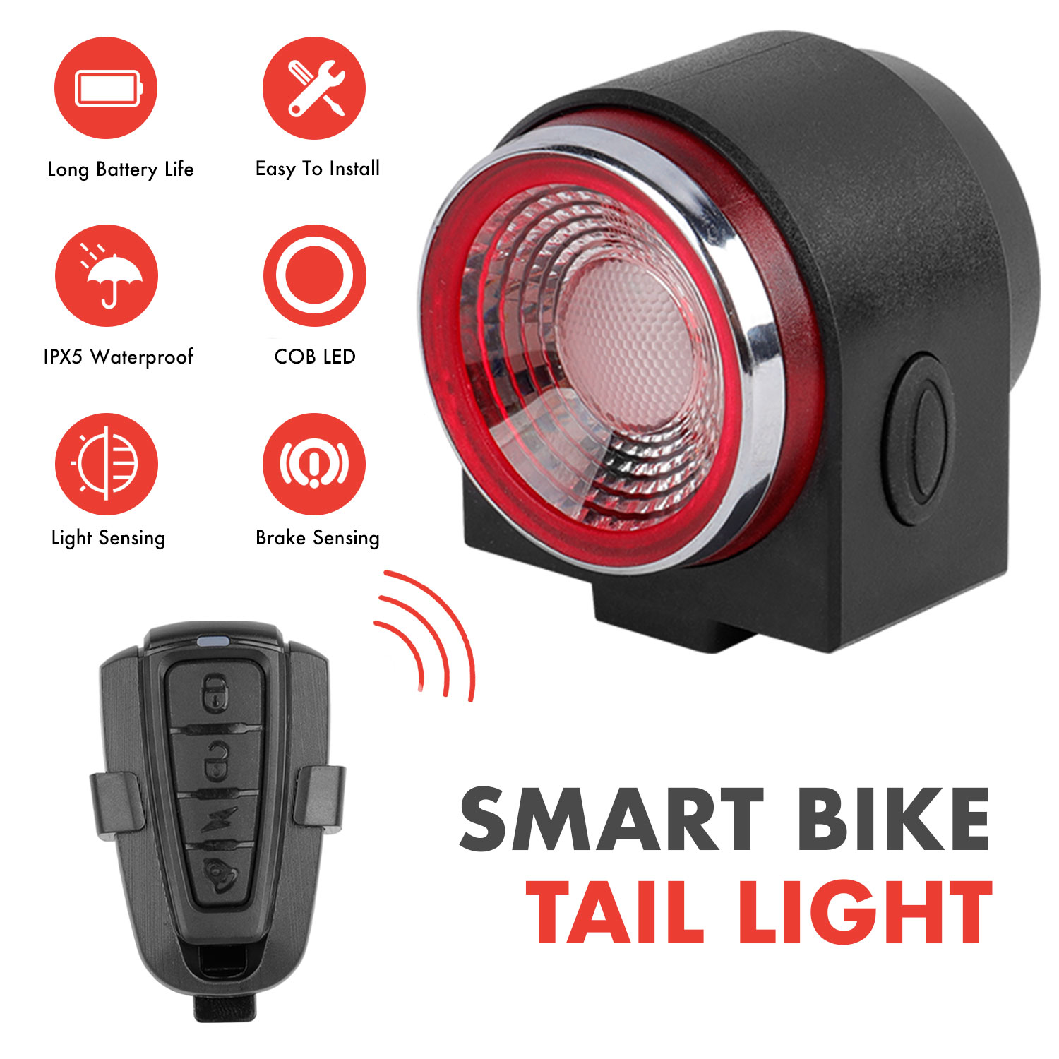 A8 Smart Bike Tail Light With Remote Control IPX5 Waterproof USB Rechargeable Cycling Light W/ Intelligent Chip Anti Thief Alarm