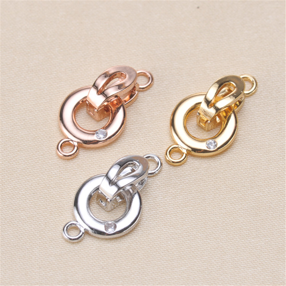 Clasps For Jewelry Making Fastening Accessories 925 Silver Plating Cubic Zirconia Clasps For DIY Pearls Necklace Bracelet Clasp