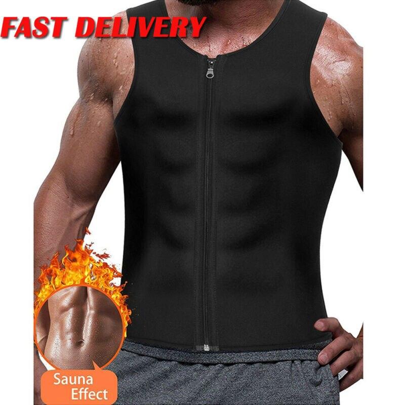 New Men's Slimming Neoprene Vest Sweat Shirt Body Shaper Waist Trainer Shapewear Black Sleeveless Men Top Shaper Clothing Male