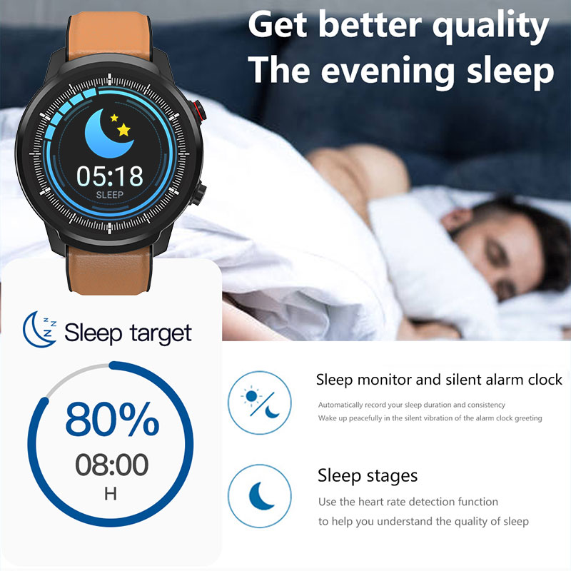 L3 Waterproof Smart Watch with Round Screen Heart Rate Pedometer and Call Message Reminder Smart Activity Tracker for Women Men 10