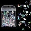 Голографические смешанные буквы дизайн формы ногтей блёстки маникюрные хлопья украшения для ногтей аксессуары
