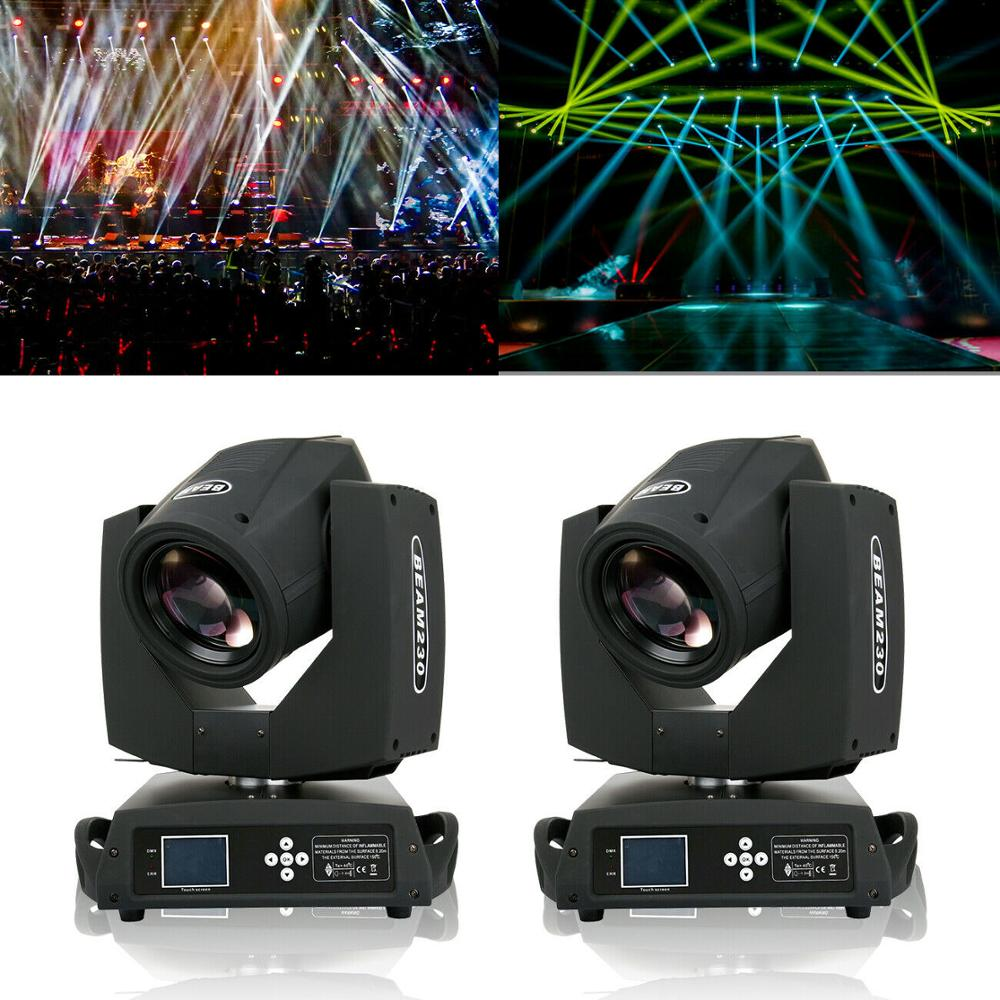 Honhill 2PCS 7R 230W Moving Head Light DMX512 Stage Party Light and LCD Display Beam Stage Gobo Light 16-Prism Beam