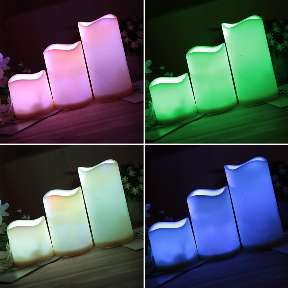 3Pcs/Set Color Changing LED Candle Night Light Decor Lamp With Remote Control LED Candle Night Light Decor Lamp Candle Light LED