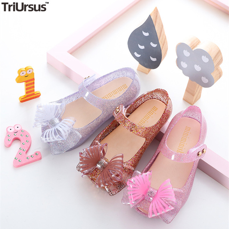 2020 New Melissa LED Flash Bow Princess Sandals Hook Loop Jelly Baby Girl Slippers Pink Silver Kids Toddler Girl Summer Shoes