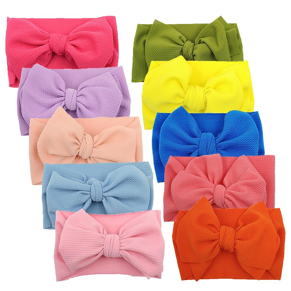10 шт./лот, повязка на голову с большим бантом для девочек, широкая нейлоновая повязка в рубчик, повязка на голову для новорожденных, повязка на голову для малышей, Детские аксессуары для волос 3