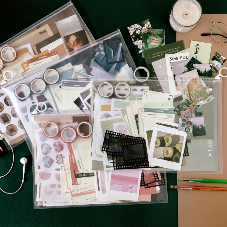 JIANWU album sastera siri pita bahan pelekat kertas set asas hiasan - Pad nota dan buku nota - Foto 1