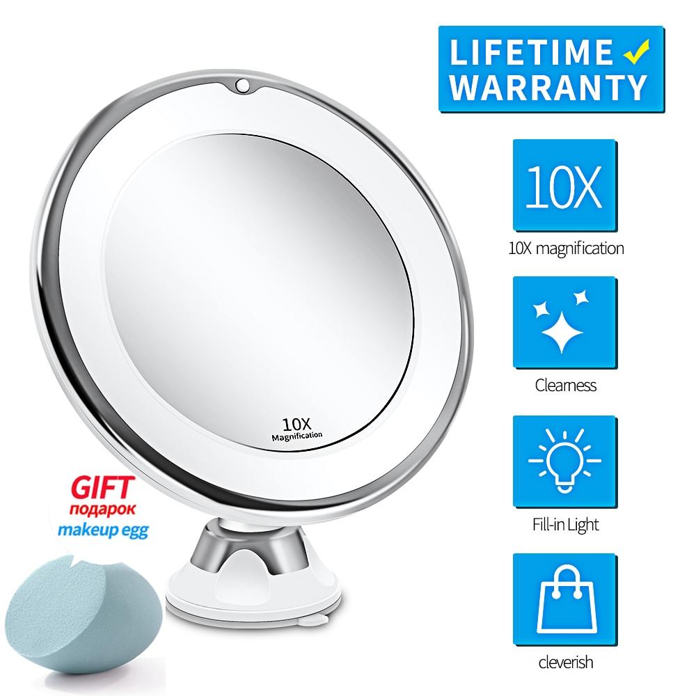 Светодиодный зеркало для макияжа с освещенный туалетный столик зеркало 7X увеличительное зеркало светодиодный Miroir Grossissant увеличительное др...