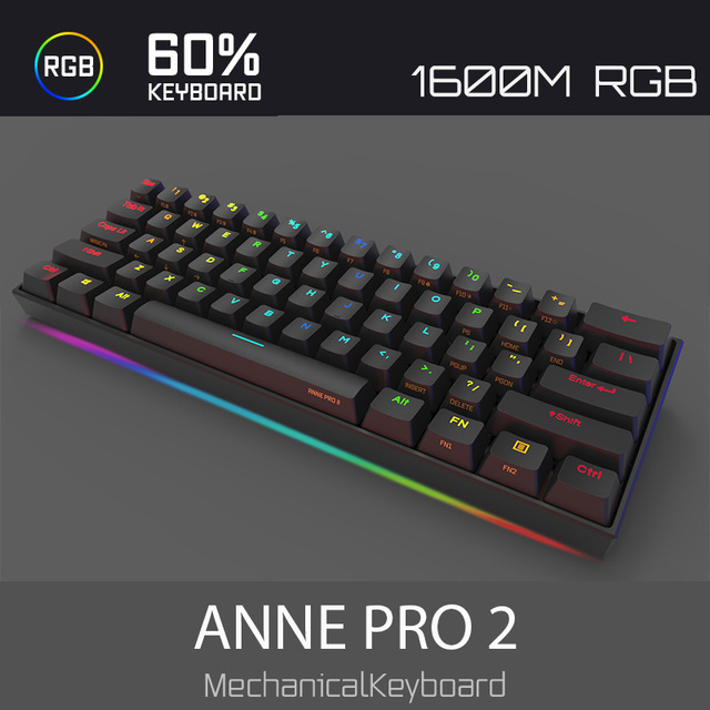 Anne Pro2 mini portable 60% mechanical keyboard wireless bluetooth Gateron mx Blue Brown switch gaming keyboard detachable cable 2