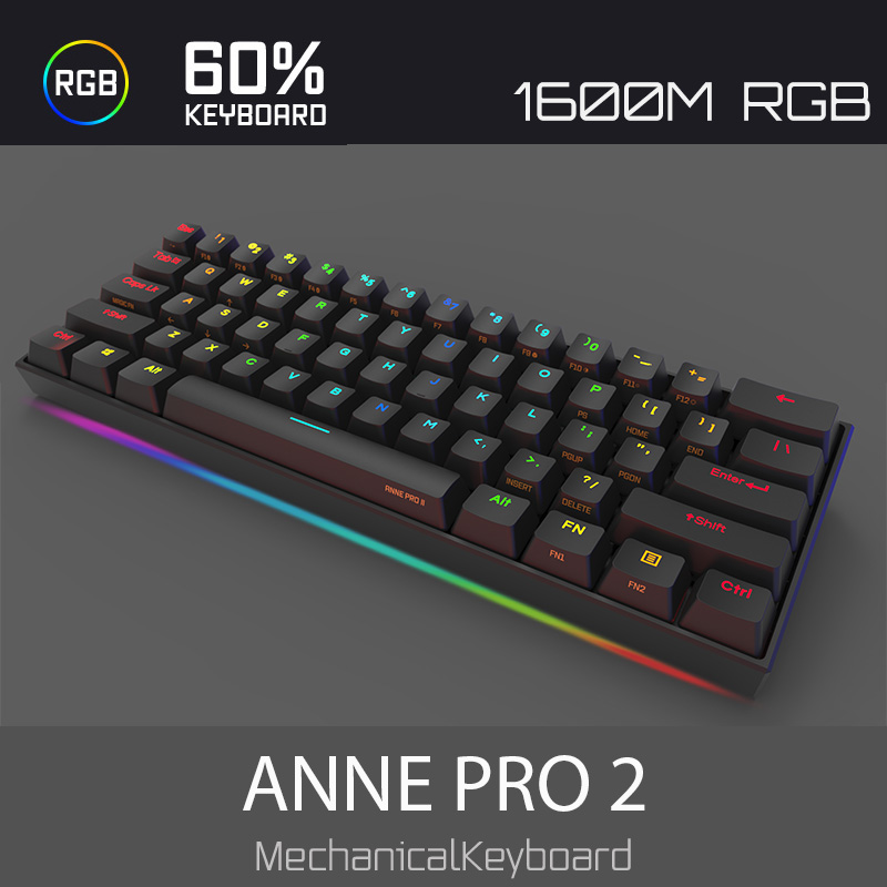 Image 3 - Anne Pro2 mini portable 60% mechanical keyboard wireless bluetooth Gateron mx Blue Brown switch gaming keyboard detachable cable-in Keyboards from Computer & Office