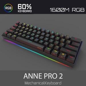Image 3 - Anne Pro2 mini portable 60% tastiera meccanica della tastiera senza fili di bluetooth Gateron mx Blu Marrone interruttore tastiera gaming cavo staccabile