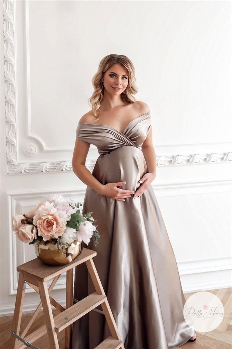 Silver Pregnant Pajamas Women Sleepwear Bathrobe Soft Silk Long Wedding Bridal Robe Customize Nightgown