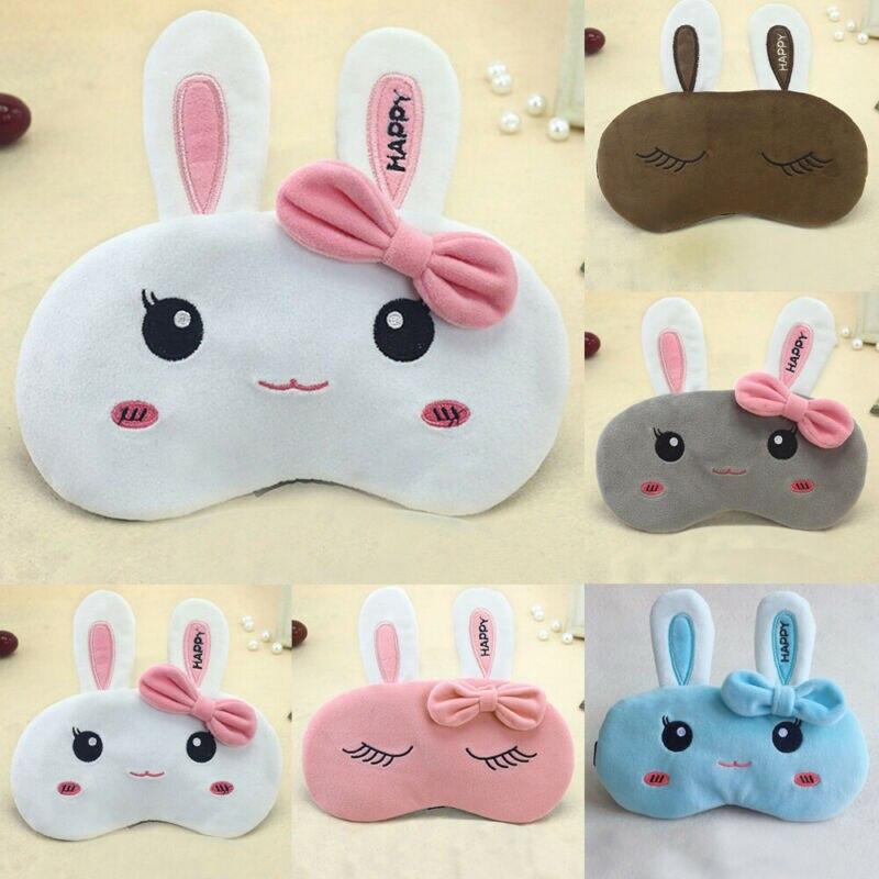 Lovely Soft Eye Masks Travel Flight Help Kids Sleep Blackout Sleeping Blindfold Adjustable Cartoon Bunny Eye Mask