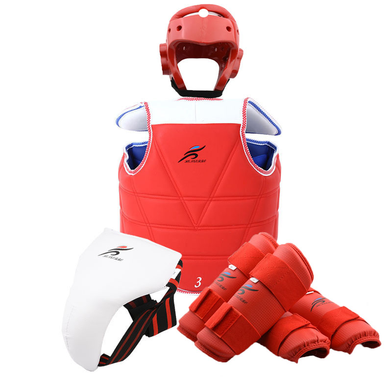 Taekwondo Sparring Helmet Gear Shin Forearm Chest Protector Karate Suit Professional Martial Arts Boxing Uniform Belt