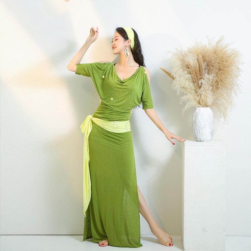 Cheap Egypt Baladi Shabby Saidi Robe Loose Women Belly Dance Oriental Dancing Practice Wite Costume 4 Piece Set With Belt