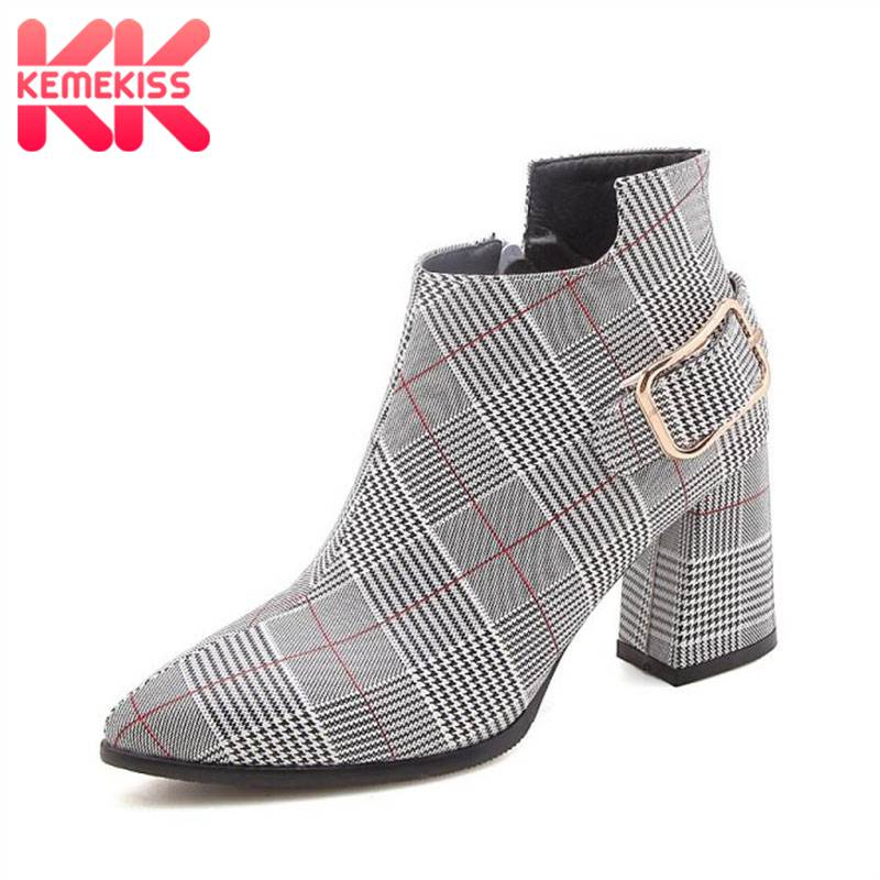 KemeKiss Big Size 32-47 Winter Ankle Boots Women Fashion Stripe Plaid Brand Warm Fur Shoes Women Zipper Buckle High Heel Boots image