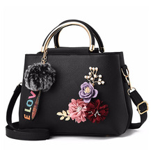Fashion Flowers Designer Pu Leather Crossbody Bags for Women Vintage Small Shoulder Handbags Female Casual Top Handle