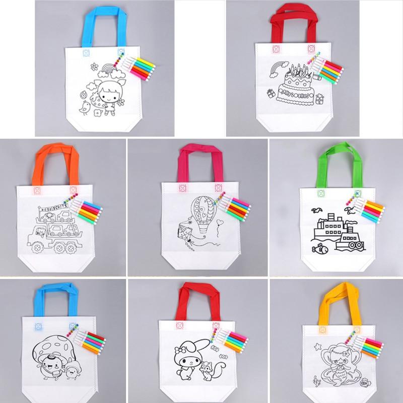 1Pcs Children DIY Handmade Fill-color Hand Painted Material Doodle Handbag Canvas Environmental Bag Non-woven Fabric