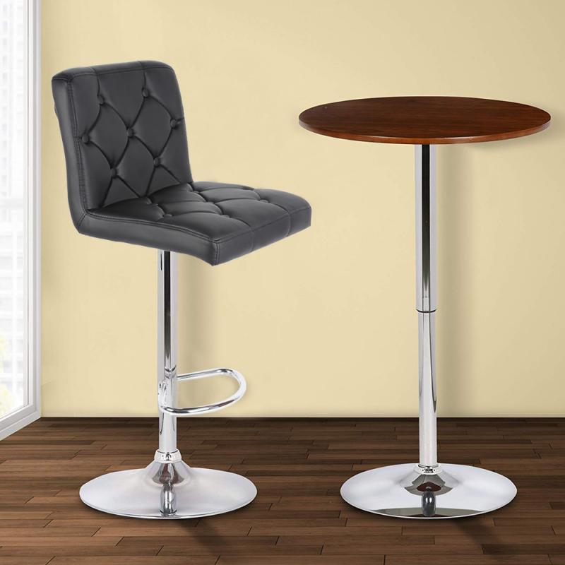2pcs Modern Bar Stools Light Luxury Bar Chair Soft PU Leather Swivel Adjustable High Bar Stool Kitchen Living Room HWC