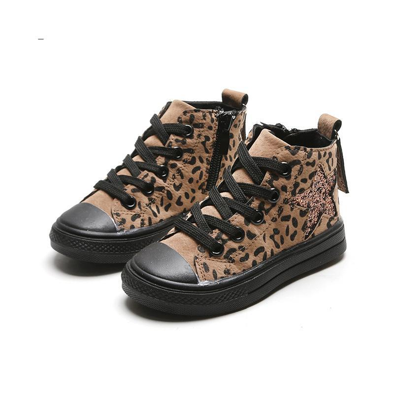 New Kids Shoes Casual Fashion Leopard Sequin Star Baby Boys Sneakers High Top Children Canvas Shoes Girls Sneakers Spring Autumn