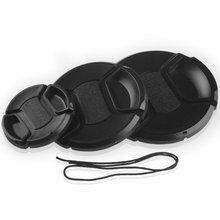Профессиональная защитная крышка объектива для Canon/Nikon/Pentax/Sony ABS, Пыленепроницаемая Защитная крышка для объектива камеры с веревкой для защи...