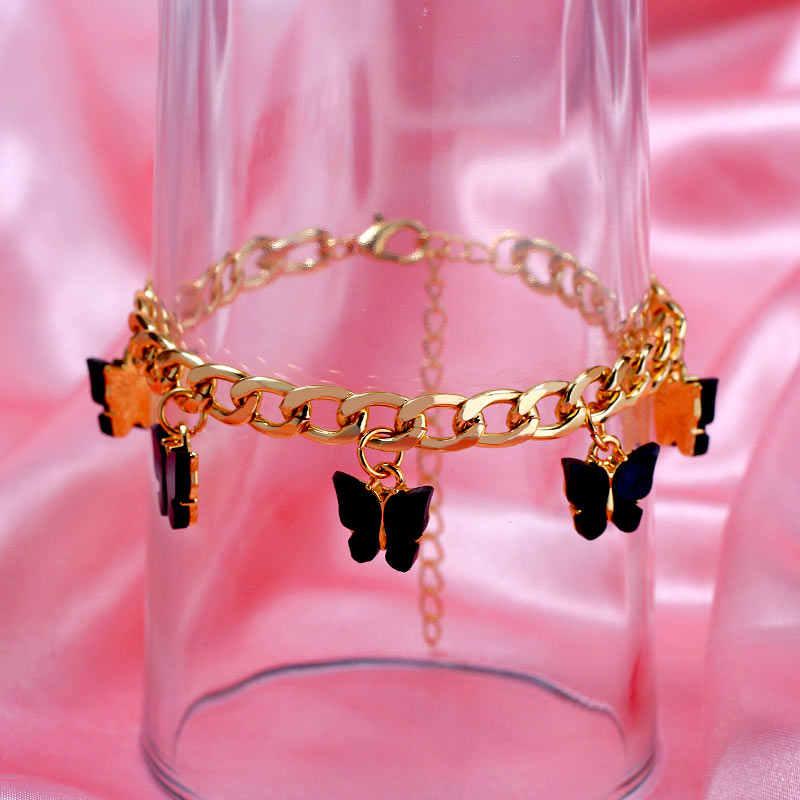 Flatfoosie Nuovo Sveglio di Modo Della Farfalla Dei Braccialetti per Le Donne Oro Argento di Colore 16 Insetto Braccialetto Dichiarazione Dei Monili dei Regali Del Partito