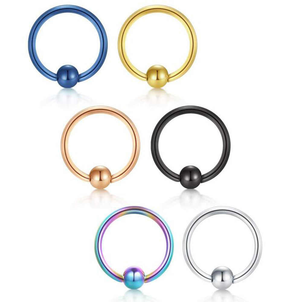 1PC Surgical Steel Captive Hoop Bead Rings Lip Eyebrow Nose Nipple Labret Piercing Ear Septum Tragus Helix Piercing Body Jewelry